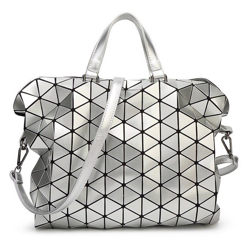 relouis fashion gloss Women Messenger Bag Fashion Gloss BAOBAO Bag Geometry Package Sequins Saser Plain Folding Handbags briefcase Shoulder Bags