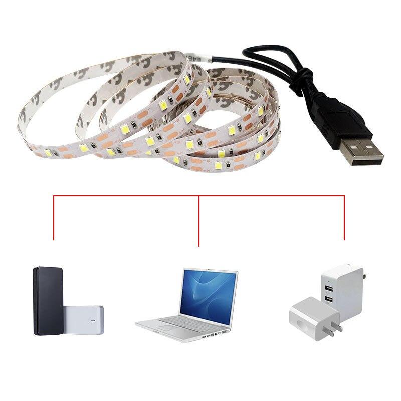 USB LED Strip Light DC 5V Flexible Tape SMD 5050 LED Ribbon 50cm 1m 2m 3m 4m 5m