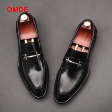 OMDE New Arrival British Style Black Business Formal Shoes Men Slip-on Dress Shoes Genuine Leather Loafers Men's Wedding Shoes okhotcn fashion new arrival black red crocodile grain man formal shoes business party wedding dress shoes genuine leather shoes