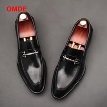 цены OMDE New Arrival British Style Black Business Formal Shoes Men Slip-on Dress Shoes Genuine Leather Loafers Men's Wedding Shoes