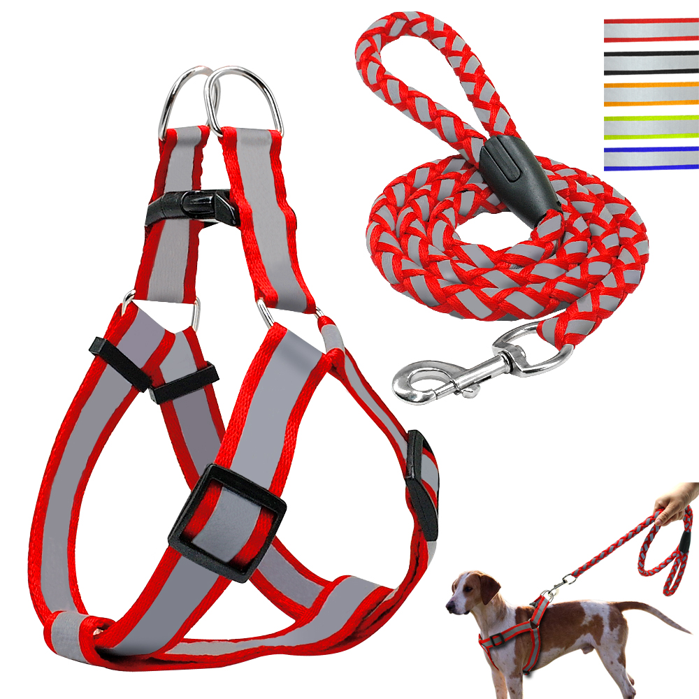 Home & Garden Step-in Reflective Nylon Dog Harness Vest No Pull Adjustable Pet Puppy Walking Training Harness Leash Set For Small Medium Dog Bright Luster