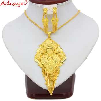 Adixyn 45cm/18inch Necklace&Earrings/Pendant Jewelry Set for Women/Girls Gold Color Exquisite Jewelry India Party Gifts N09272 - DISCOUNT ITEM  10% OFF All Category