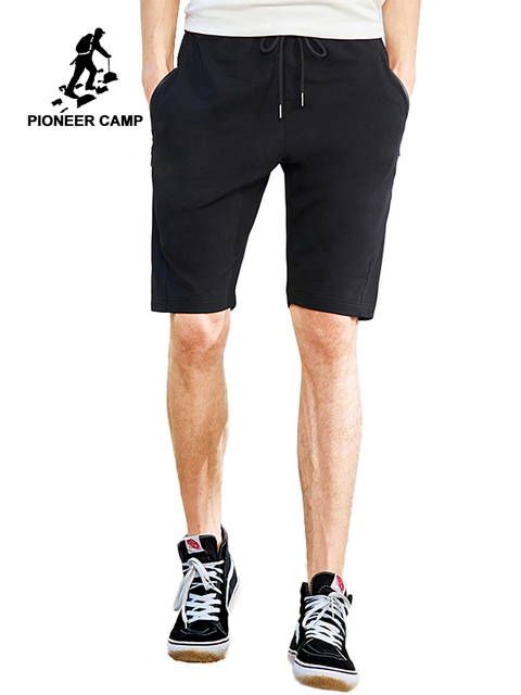 Pioneer camp new casual shorts men brand clothing solid summer elastic waist short pants stretch bermuda male black ADK802107