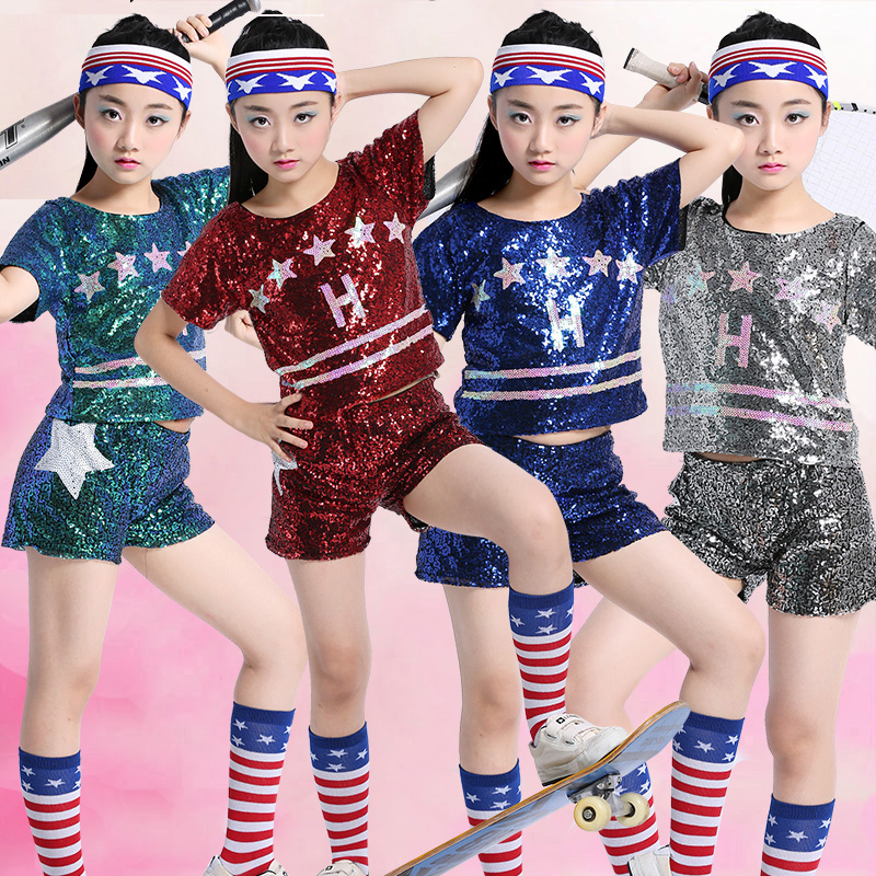 Jazz Dance Costumes Girls Sequined Short Sleeved Shirt Shorts Kids Hip Hop Clothes Sequin Outfit Stage Show Dancewear DN2955