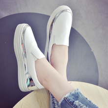 new product Small white shoes female increased flat casual breathable summer thick bottom pedal head Lok Fu shoes