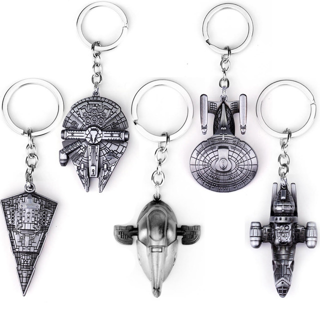 Hot Sale New Fashion Star Wars Spaceship Sign Keychain Cool Falcon Keyrings Alloy Pendant Keyring Men Jewelry Accessories
