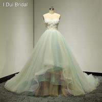 Schatz 3D Blume Ballkleid Brautkleider Bunte Blau Gelb Real Photo Brautkleid Fabrik Nach Maß