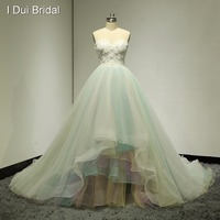 Sweetheart 3D Flower Ball Gown Wedding Dresses Colorful Blue Yellow Real Photo Bridal Gown Factory Custom