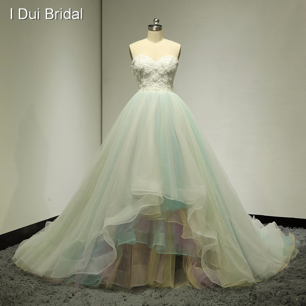 Colorful Wedding Dresses: Sweetheart 3D Flower Ball Gown Wedding Dresses Colorful