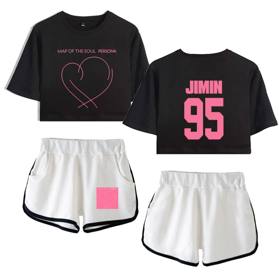 Bf Kpop 2019 New Album Map Of The Soul:Persona Leisure Women Two Piece Set Shorts And Lovely T-Shirt Clothes Hot Sale Print
