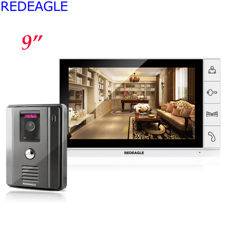 REDEAGLE 9 inch Color TFT LCD Monitor Video Door Phone Doorbell Intercom System 700TVL Night Vision Security Camera 100 Degree homefong 7 tft lcd hd door bell with camera home security monitor wire video door phone doorbell intercom system 1200 tvl