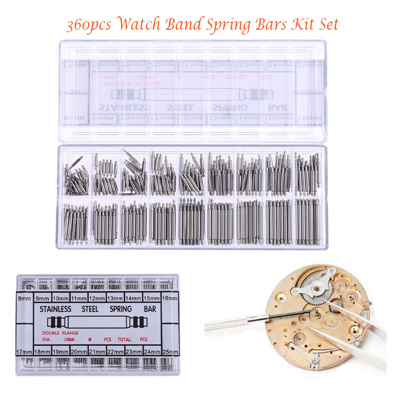 360pcs 8-25mm Stainless Steel spring bar Watch Watch Band Spring Bars Strap Link Pins Watchmaker Watch Pins kit riparazione orol