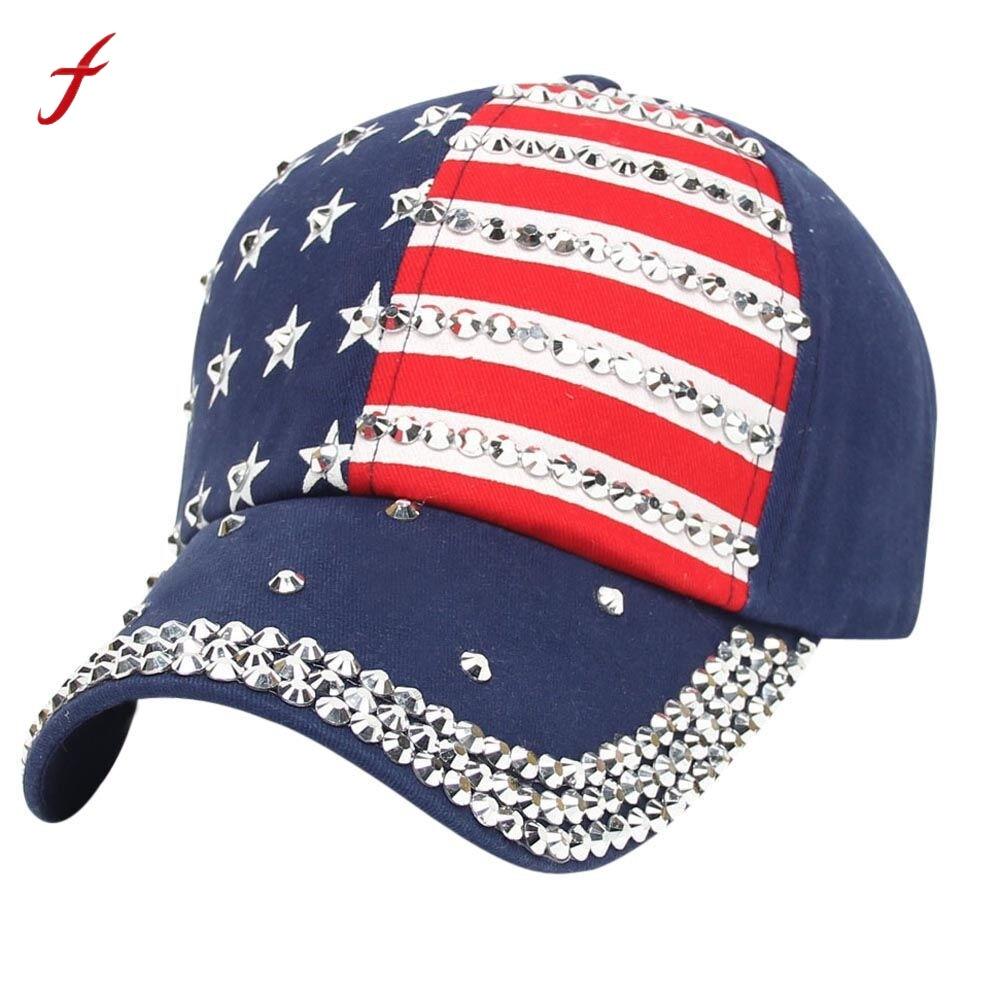 Fashion Women Men American Flag Baseball Cap Snapback Hip Hop Flat Hat  Rhinestones American Flag caps women Fashion summer-in Baseball Caps from  Apparel ... c760d182e67