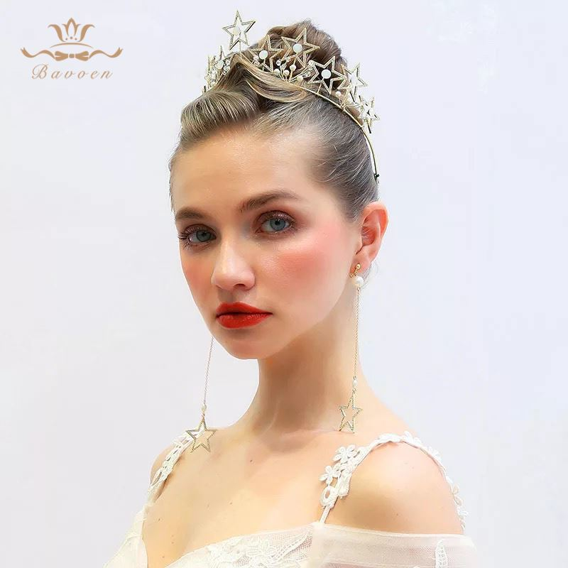 Hot Brides European Stars shape Tiara Crowns with Long Earring Gold Pearls Hairbands Set Brides Hair Accessories