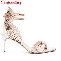 Butterfly Wing Design Open Toe High Thin Heel Pumps Women Gladiator Metal Embellished Women Lady Sandals