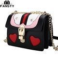 2016 New Fashion Women Crossbody Bag Female PU Leather Simple Heart Embossing Messenger Bag Single Chain Shoulder Bag for Ladies