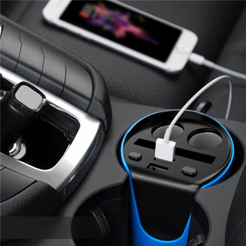DC 12V 24V Dual USB Car Cup Holder Charger with Cigarette Lighter Socket Stand in Power Adapter from Automobiles Motorcycles