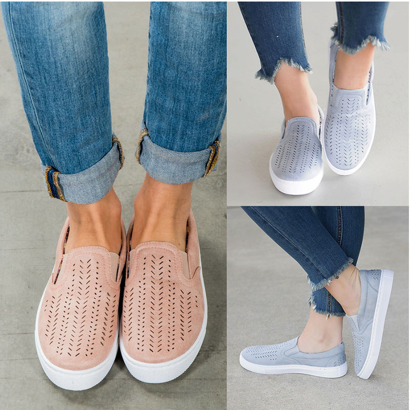 2018 Women Cut-outs Vulcanized Shoes Female Flock Elastic Band Slip-on Shallow Breathable Flat Casual Loafers Ladies Plus Size mcckle summer casual flats women sneakers plus size cut outs slip on elastic band ladies loafers flock footwear female shoes