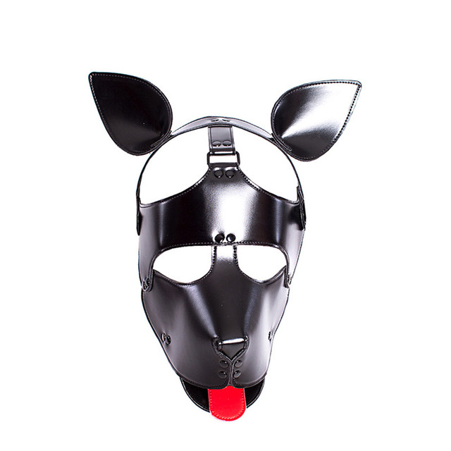 Leather Puppy Costume Play Dog Cosplay Mask With Ears Tongue Fetish Sex Pet  Hood Role Accessories Sexy Bondage Prop Animal Mask
