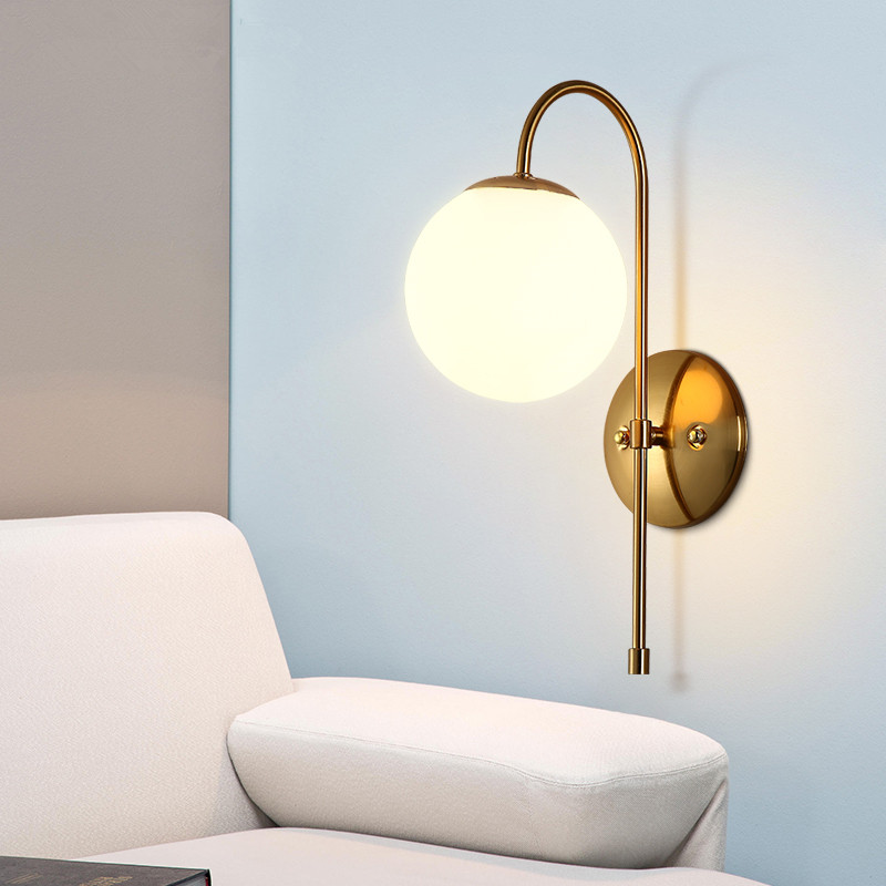 Nordic Post Modern Golden Led Wall Lamp For Bedroom Living Room Simple Retro Glass Ball Lights Bedside Study Cafe Wall Sconce Led Indoor Wall Lamps