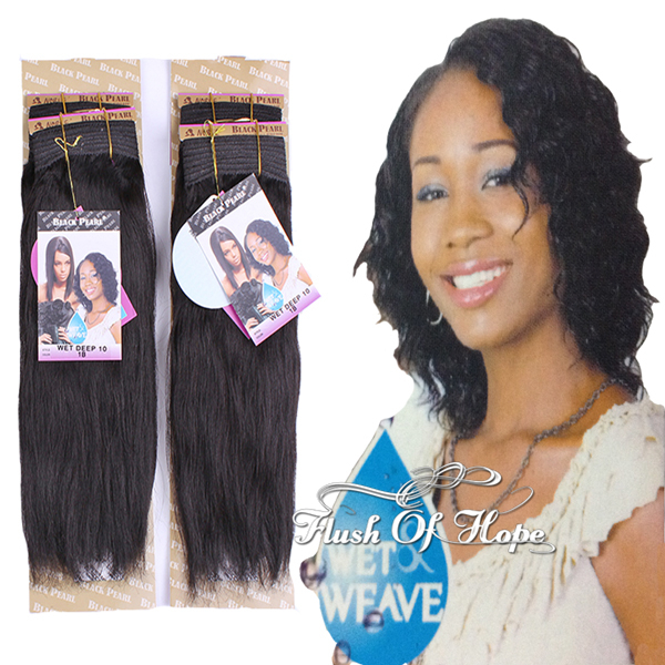 Magic 2 Style in 1 Piece Black Pearl Wet Deep Indian Remy Real Hair  Extensions Weft 12