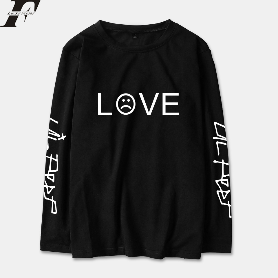 New European Style Streetwear Tops Lil Peep T-shirts Men/women Black Long Sleeve Casual Loose T-shirt XXS To 4XL