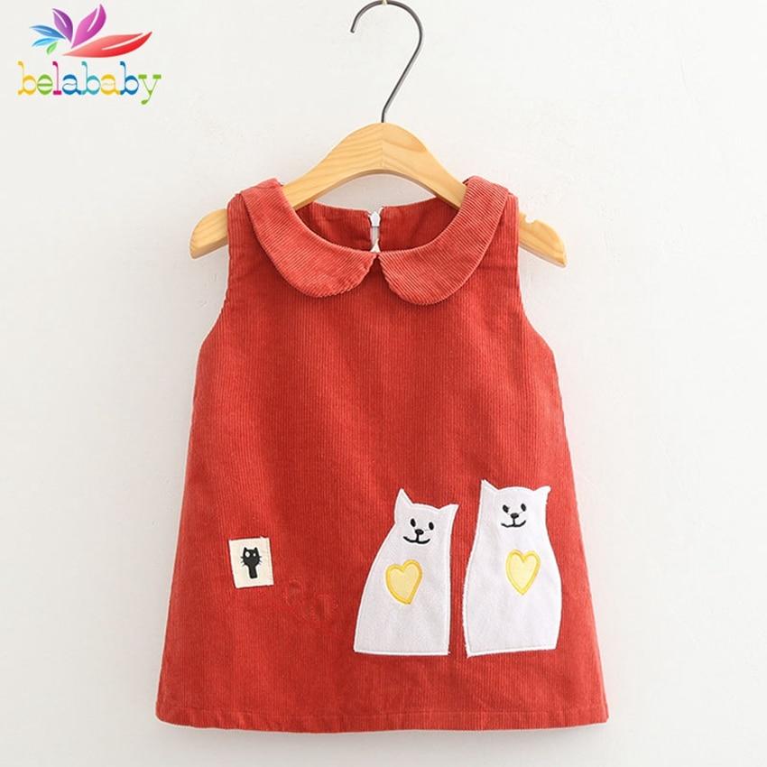 Belababy Cartoon Dress for Girls Spring Summer Fashion Sleeveless Corduroy Kids Dresses Cute Bear Cat Pattern Vestidos Sundress