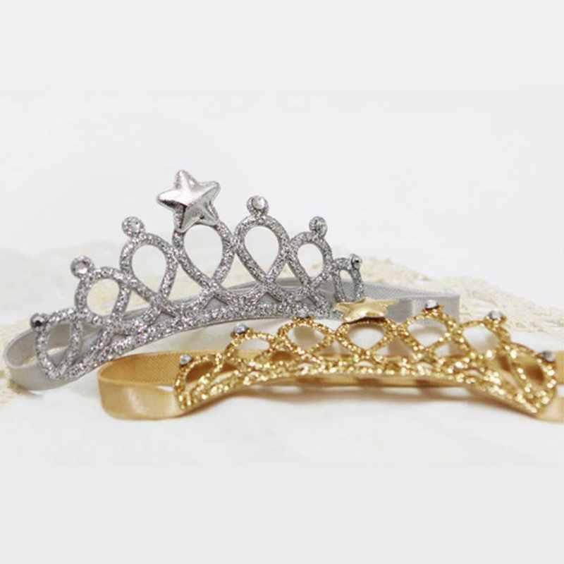 469685f0435e ... 2018 baby Hair Accessories Girls Elastic Headband Children Hair Band  infant Princess 2 Color Crown Headband ...