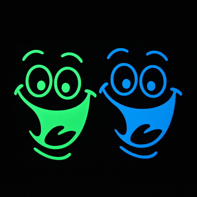 Funny Cartoon Big Mouth Smile Face Luminous Sticker Glow in the Dark Bathroom Sticker Wall Cabinet Laptop Toilet Sticker Decal