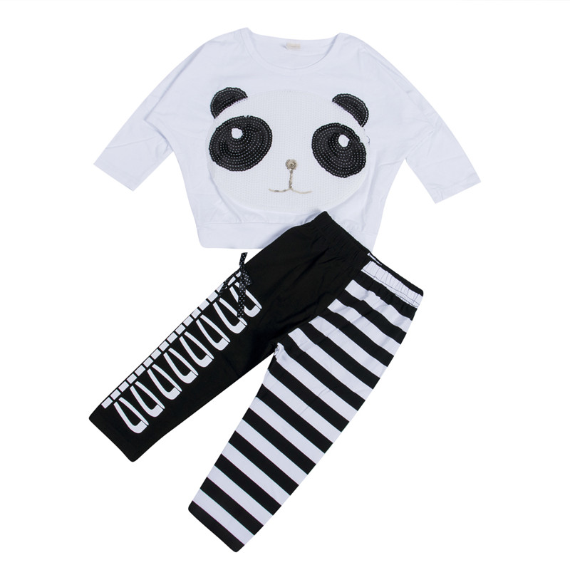 2019 New Fashion Baby Girls Panda T-shirt Tops+Striped Bow Leggings Outfits Clothing Sets 2Pcs Set Clothes Casual 2-7Y
