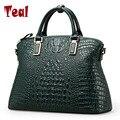 Mulheres Bolsa De Crocodilo Genuíno Bolsas De Couro De Luxo Mulheres Sacos De Designer Bolsas de Alta Qualidade Top-handle Bags Tote Bag New 2016