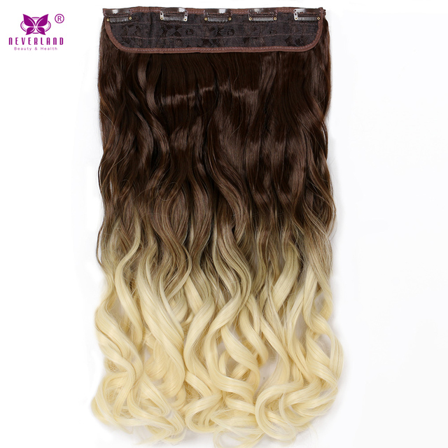 "Neverland 24"" Women Wavy Synthetic Long Hair One Piece 3/4 Head Ombre Blonde Hairpiece Clip in Hair Extensions"
