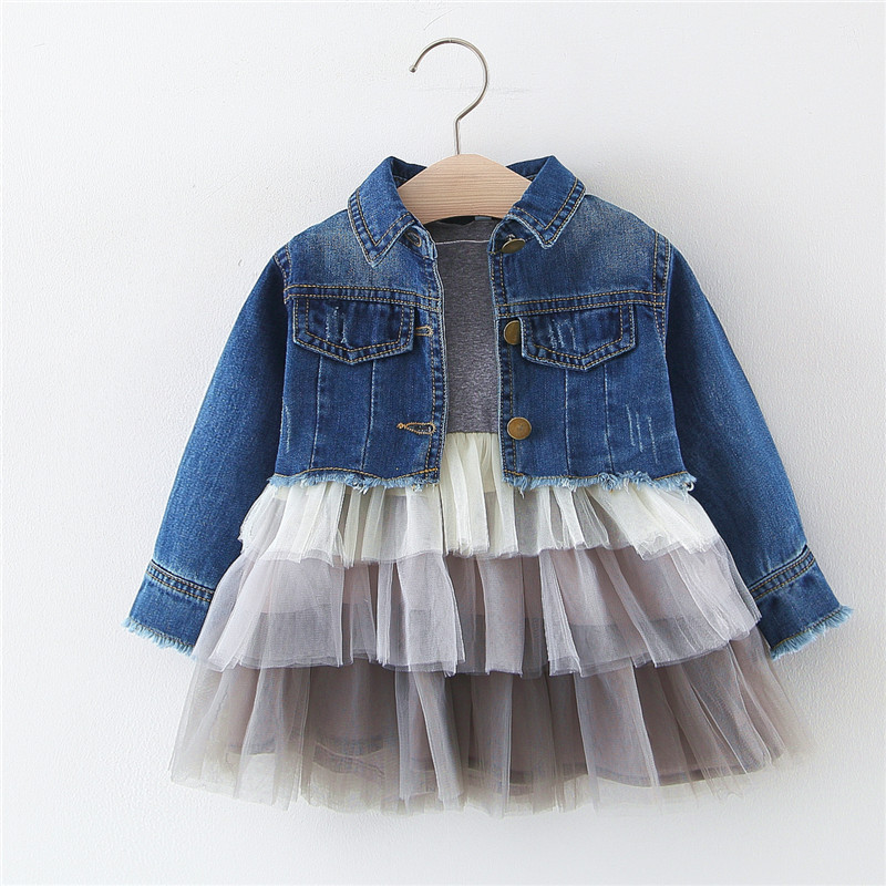 Hot! Baby Girls Cupcake Princess Dress+denim Coat 2pcs Sets Children's Clothes Spring Autumn Kid Clothes Bebe Baby Girl Clothes