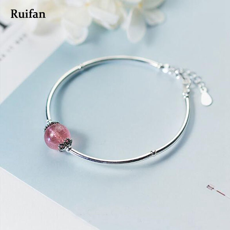Ruifan Natural Strawberry Quartz Ladies Bracelets 100% 925 Sterling Silver Women's Bracelet Lucky Charm Fine Jewelry 2019 YBR008
