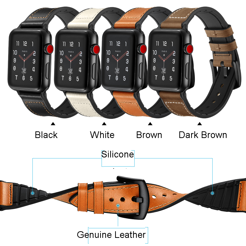 Genuine Leather Silicone Watch Band Strap For Apple Watch 38mm 44mm , VIOTOO Luxury Leather Silicone WatchBand for iwatch 4 3 2Genuine Leather Silicone Watch Band Strap For Apple Watch 38mm 44mm , VIOTOO Luxury Leather Silicone WatchBand for iwatch 4 3 2