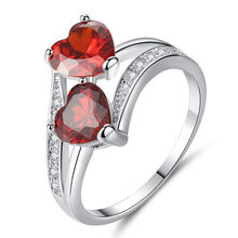 Fashion Red Crystal Rhinestone Double Heart Rings Cubic Zircon Female Rings For Women Wedding Bride Jewelry