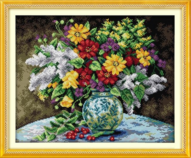 Garden Flowers in Vase Cross