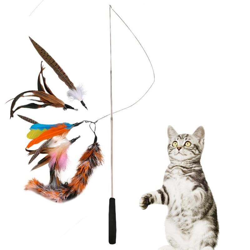 6pcs/set Pet <font><b>Cat</b></font> <font><b>Toy</b></font> Telescopic <font><b>Cat</b></font> <font><b>Stick</b></font> Teaser Wand Interactive <font><b>Toys</b></font> Playing Rod with <font><b>Feather</b></font> Replacement Heads Set image