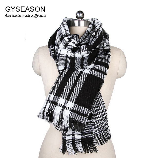 bd0d188c1cf69 Tartan Scarves Women Winter Scarf Plaid Tassel 2017 Green White Black Warm  Acrylic Unisex Male Fringe Echarpe Homme Scarf Female