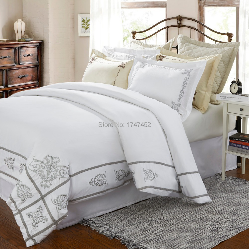 Brazilian embroidery bedspread designs - 300thread Count Quilt Cover Set White With Classic Embroidery China Mainland