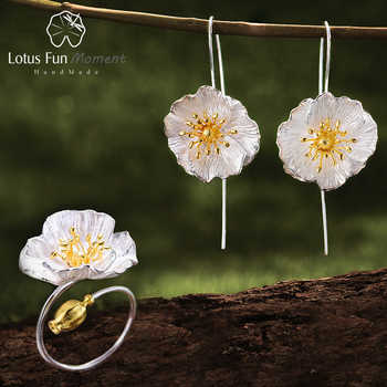 Lotus Fun Moment Real 925 Sterling Silver Handmade Designer Fashion Jewelry Blooming Poppies Flower Jewelry Set for Women Bijoux - DISCOUNT ITEM  57% OFF All Category