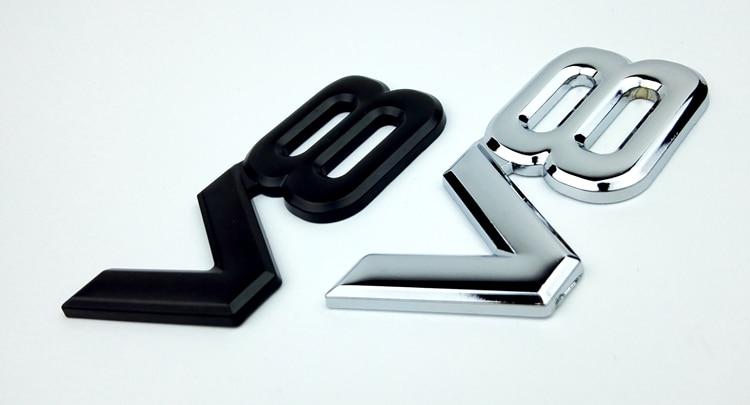 FP 3D Silver Auto Motor V8 Car Rear Emblem Decal Badge Sticker 7.5x3.5cm