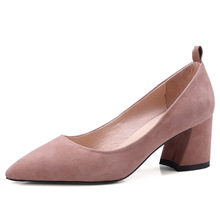 Famous brand high-grade pointed ribbon womens high-heeled shoes commuter four seasons universal full leather single women