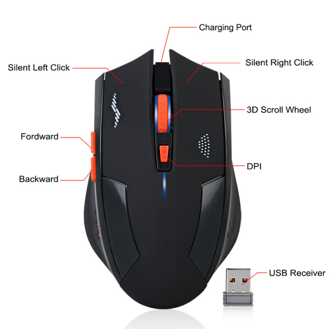 Wireless Mouse Rechargeable Slient Buttons 3