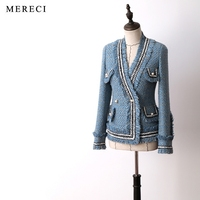 New arrival women fashion elegant heavy tweed jacket V neck chains tassel pockets pearls button work wear formal outerwear blue