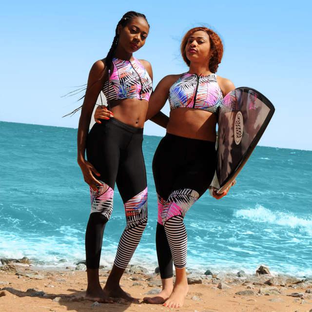 5501948e2 placeholder Rash Guard Swimwear Mulheres Sexy Maiô de Duas Peças de  retalhos Mid Cintura Deixar Surf Terno