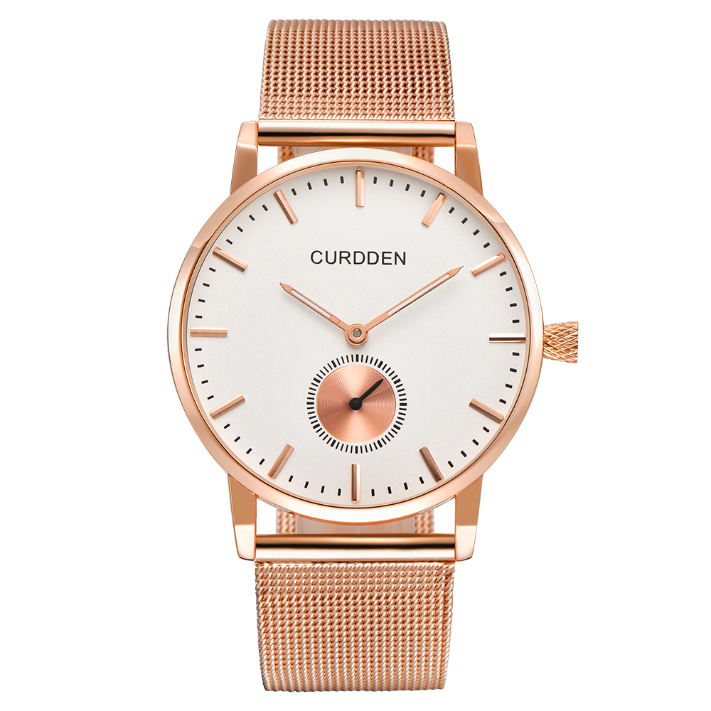CURDDEN Women Luxury Full Steel Watches Rose Gold Waterproof Couple Quartz Watch Men Relogio Feminino Original Marca Moda Luxo