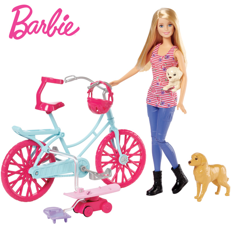 цена Barbie Originals Bicycle Riding Kit Dog Toys for children Of American Girl Doll Brinquedos For Birthday kawaii Gift CLD94
