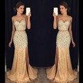 Brillantes vestidos de baile Rhinestones Con Cuentas Desfile Vestido de Dos Piezas de Baile Vestidos Sirena Vestidos de Noche Vestido Formal Largo