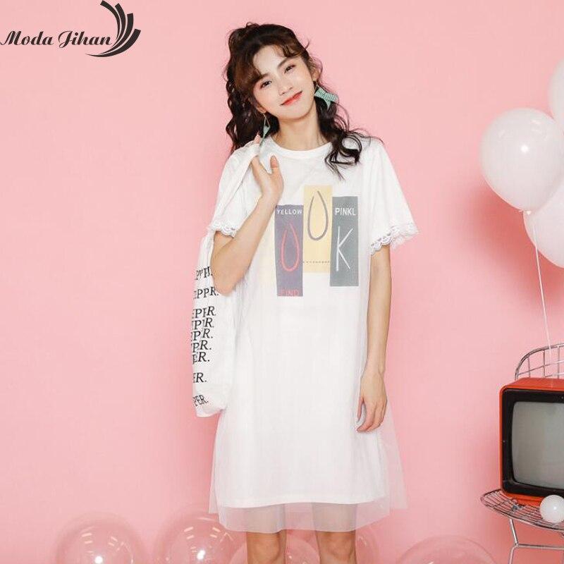 Moda Jihan Jeunes Femmes Robes Preppy Style Coton À Manches Courtes Mini Doux Robe Chemise Maille Imprimé Chic Rue Dames Robe